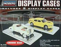 Lindberg 2 Pack Display Car Case Chrome Base Plastic Model Display Case 1/24 Scale #14102