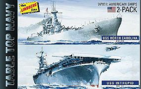 Lindberg USS Intrepid & USS North Carolina Plastic Model Military Ship Kit 1/1200 Scale #419