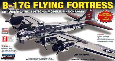Lindberg B-17 Flying Fortress Chrome Military Aircraft -- Plastic Model Airplane Kit -- 1/64 Scale -- #70514