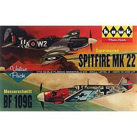 Lindberg Spitfire/Me109 (2) Plastic Model Airplane Kit 1/72 Scale #hl445-12