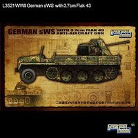 Lion-Roar 1/35 WWII German sWS Halftrack w/3.7cm FlaK 43 Anti-Aircraft Gun (Plastic Kit)