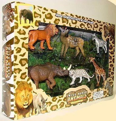 Lontic Company Wild World Animals (6 different animals) -- Plastic Model Animals -- 1/32 Scale -- #94597