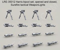 Live-Resin 1/35 Harris Bipod Set (4 opened/4 folded) & Surefire Tactical Weapon Lights (8)