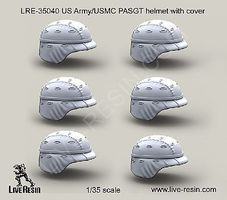 Live-Resin 1/35 US Army PASGT Helmet w/Cover (6)