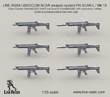 Live-Resin 1/35 USSOCOM SCAR Weapon System FN SCAR-L/Mk 16 Close Quarter Combat w/Suppressor (6)