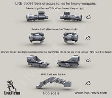Live-Resin 1/35 Heavy Weapon Accessories (3ea- Polarion Night Reaper CSWL, Surefire Hellfighter Gun Weapon Light, Mk 93 Bracket, DCL120/DCL401 Dot Sight