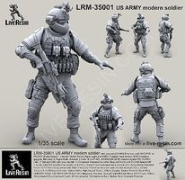Live-Resin 1/35 US Army Modern Soldier in ACH/MICH Helmet w/MS2000 Strobe Beacon Infrared & Face Armor