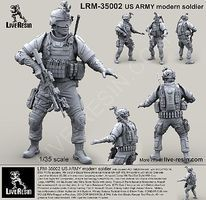 Live-Resin 1/35 US Army Modern Soldier in ACH/MICH Helmet w/MS2000 Strobe Beacon Infrared & Goggles
