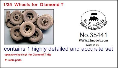 LZ Diamond T Wheels for MZZ (Resin) Plastic Model Vehicle Accessory 1/35 Scale #35441