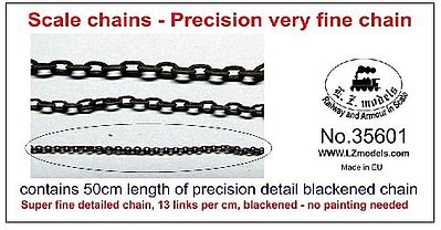 LZ 50cm Super Fine Blackened Detail Chain 13 Links per cm