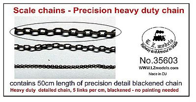 LZ 50cm Heavy Duty Blackened Detail Chain 5 Links per cm