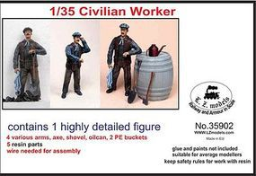 LZ Civilian Worker w/Accessories (Resin) Resin Model Figure Kit 1/35 Scale #35902
