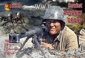 Mars WWII Soviet Assault Group (24 w/4 Machine Guns) Plastic Model Military Figure 1/72 #72012
