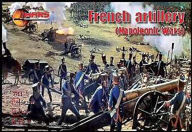 Mars Napoleonic War French Artillery (16 w/4 Guns) (D) Plastic Model Military Figure 1/72 #72016