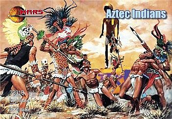 Mars Figure Sets Aztec Warriors (30) -- Plastic Model Cowboy and Indian -- 1/72 Scale -- #72018