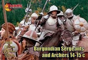 Mars 14th-15th Century Burgundian Sergeants & Archers Plastic Model Military Figure 1/72 #72026