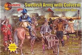 Thirty Years War Swedish Army w/Large Siege Gun Plastic Model Military Figure 1/72 #72031