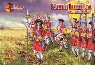 Mars Figure Sets Northern War Saxon Infantry (56) -- Plastic Model Military Figure -- 1/72 Scale -- #72035
