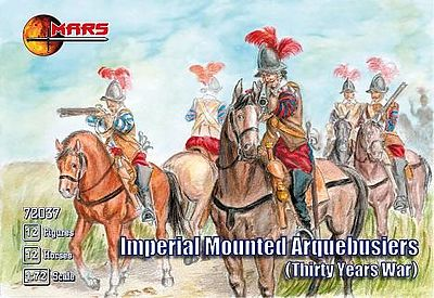 Mars Figure Sets Imperial Arquebusiers (12 Mounted) -- Plastic Model Military Figure -- 1/72 Scale -- #72037