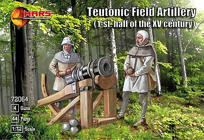 Mars Teutonic Field Artillery (44) with Guns (4) Plastic Model Military Figure 1/72 Scale #72064
