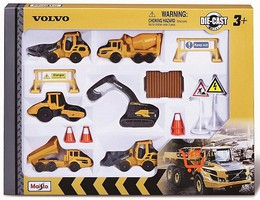 Maisto 3'' Volvo Construction Vehicles Playset (16pcs)
