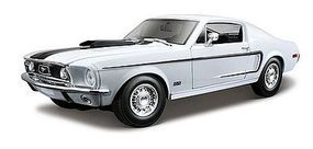Maisto 1968 Ford Mustang GT Cobra Jet (White) Diecast Model Car 1/18 Scale #31167wht