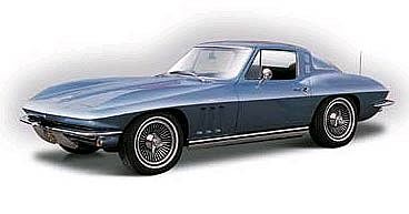 Maisto International 1965 Chevrolet Corvette (Met. Blue) -- Metal Body Plastic Model Car Kit -- 1/18 Scale -- #31640blu
