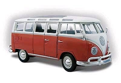 Maisto International 1960's Style VW Window Van (Red/Cream) -- Diecast Model SUV -- 1/24 scale -- #31956rdc