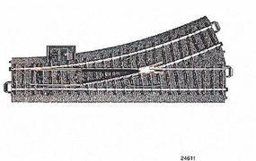 Marklin 3-Rail C Track - Left Hand Manual Turnout HO Scale Nickel Silver Model Train Track #24611