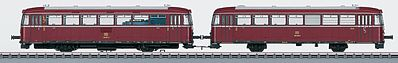 Marklin, Inc Class 798 Diesel Railcar w/998 Trailer - 3-Rail w/Sound & Digital -- German Federal Railroad DB (Era IV 1970s, red, gray) - HO-Scale