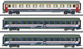 Marklin Express Train 3-Car Set Belgian State Railways HO Scale Model Train Passenger Car #42742