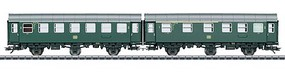 Marklin Type AB3ygeb & B3ygeb 2-Unit Passenger Car Set - 3-Rail Ready to Run German Federal Railroad DB (Era IV 1962, green, gray)