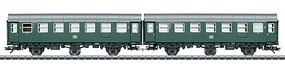Marklin DB Pair of Passenger Cars, Type B3ygeb - 3-Rail Ready to Run German Federal Railroad DB (Era IV 1962, green, gray)