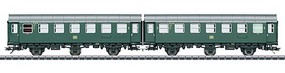 Marklin Type B3ygeb 2-Unit Passenger Car Set - 3-Rail Ready to Run German Federal Railroad DB (Era IV 1962, green, gray)