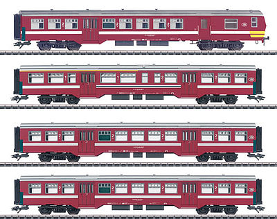 Marklin SNCB M2 Commuter 4-Car Set HO Scale Model Train Passenger Car #43545