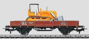 Marklin Low-Side Gondola/Bulldozer - DB HO Scale Model Train Freight Car #4424