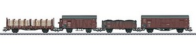 Marklin Type GI Boxcar, Om Gondola, Gr Boxcar R Flatcar 4-Car Set - 3-Rail Ready to German State Railroad Company DRG (Era II, Boxcar Red)
