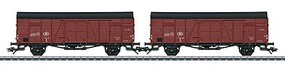Marklin Type Glm Boxcars 2-Pack - 3-Rail Ready to Run Belgian State Railways SNCB/NMBS (Era III, Boxcar Red, black)