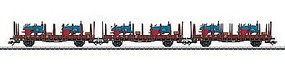Marklin Rr 20 2-Axle Stake Car w/Tractor Parts Load 3-Pack HO Scale Model Train Freight Car #46400