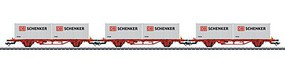Marklin Type Lgs 2-Axle Container Flatcar w/Load 3-Pack 3-Rail Ready to Run Norwegian State Railways NSB (Era VI 2016, red, 2 DB Schenker Containers)