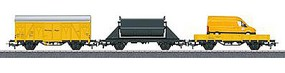 Marklin Construction Site Extension 3-Car Set w/Track HO Scale Model Train Freight Car #78083