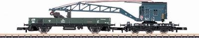 Marklin, Inc Era III Crane Car Set - DB German Federal Railroad -- Z Scale Model Train Freight Car -- #86571