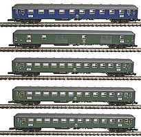 Marklin Express Train 5-Car Set German Federal Railroad Z Scale Model Train Passenger Car #87400