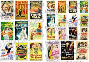 Matho 1/35 Movie Posters 1940s, Printed Paper (24) (12 different types in 2 sizes)