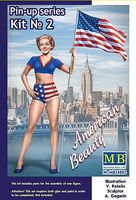 Master-Box 1/24 Betty American Beauty Pin-Up Girl Standing Holding American Flag