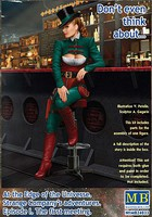 Master-Box 1/24 At the Edge of the Universe- Female Grifter Fancy Dressed Sitting on Stool Leaning on Bar Section (New Tool)