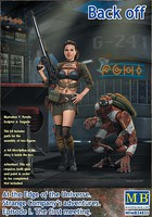 Master-Box 1/24 At the Edge of the Universe- Female Warrior Holding Machine Gun & Fighting Robot (New Tool)