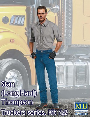 Master-Box Stan Long Haul Thompson Trucker Standing (New Tool) Plastic Model Figure Kit 1/24 #24042