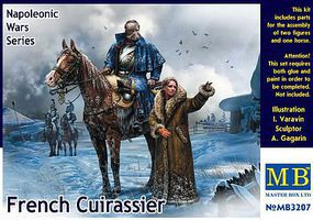 Master-Box French Mounted Cuirassier & Russian Girl Plastic Model Military Figure Kit 1/32 Scale #3207