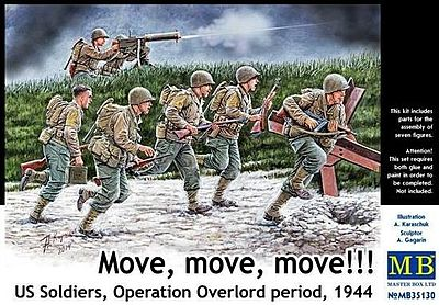 Master-Box Move, Move, Move US Soldiers Plastic Model Military Figure Kit 1/35 Scale #35130